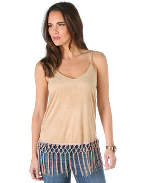 Wrangler Women's Faux Suede Criss Cross Fringe Top, Tan, hi-res