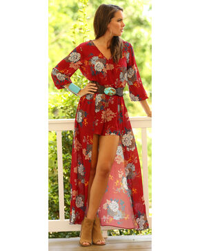 Wrangler Women's Floral Flowing Romper, Red, hi-res