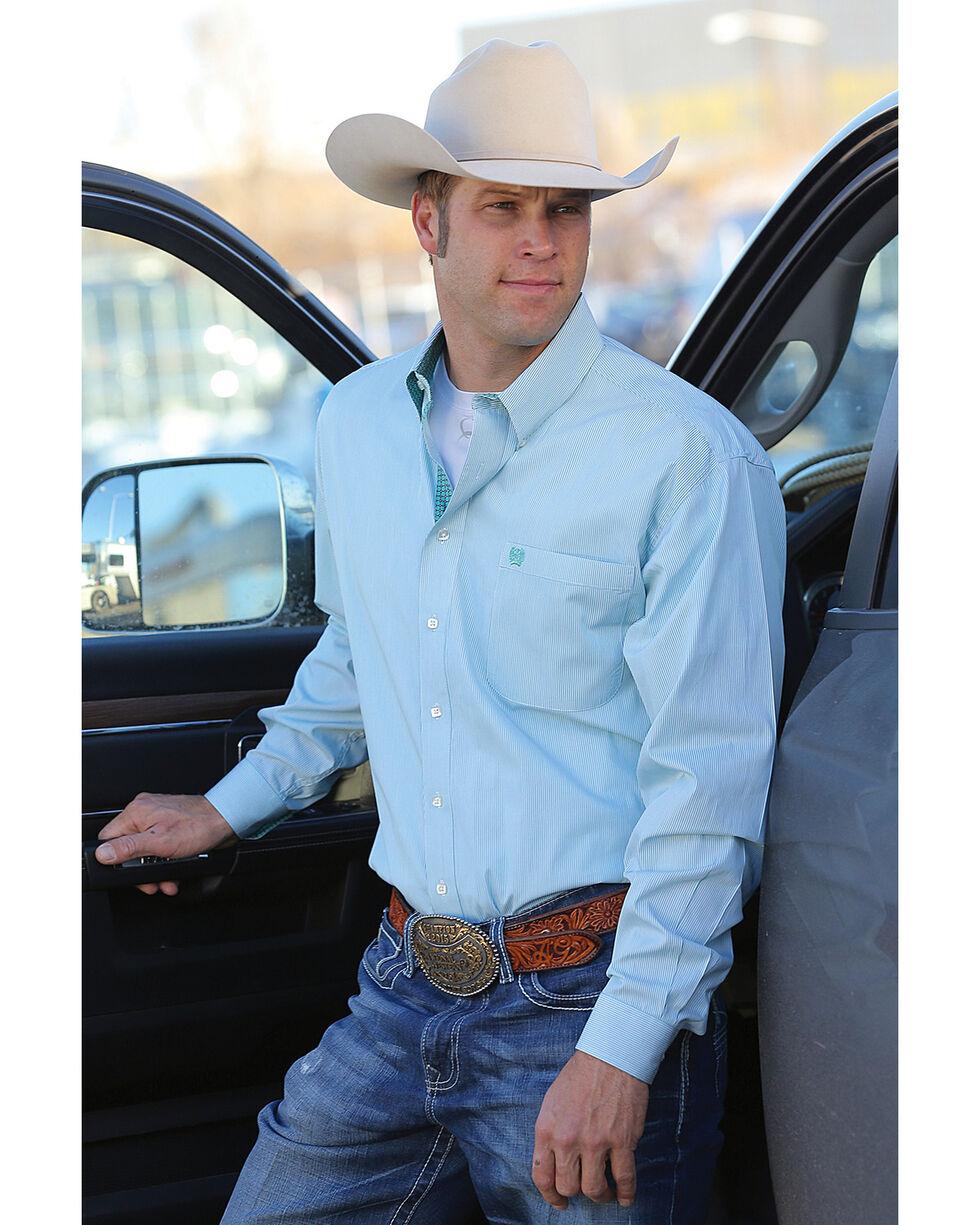 Cinch Men's Classic Fit Striped Plain Weave Long Sleeve Button Down Shirt, White, hi-res