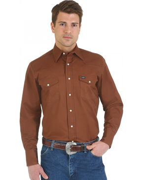 Wrangler Men's Advanced Comfort Long Sleeve Western Shirt, Brown, hi-res
