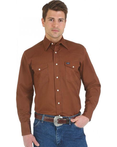 Wrangler Men's Advanced Comfort Long Sleeve Western Shirt, Brown, hi-res