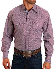 Stetson Men's Geo Print Contrast Trim Long Sleeve Shirt, , hi-res