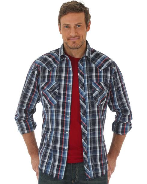 Wrangler Men's Navy Western Fashion Long Sleeve Plaid Shirt , Navy, hi-res