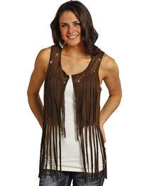 Rock & Roll Cowgirl Women's Chocolate Mineral Wash Fringe Vest , , hi-res