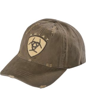 Ariat Men's Distressed Logo Ball Cap, Brown, hi-res