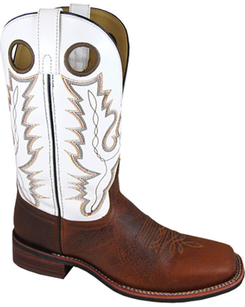 Smoky Mountain Men's White Blake Western Boots - Square Toe , Brown, hi-res