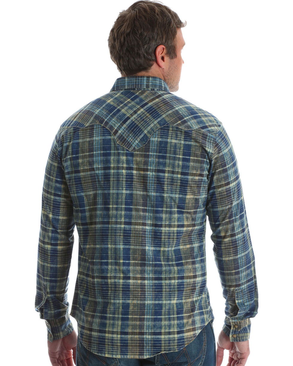 Wrangler Men's Blue Retro Long Sleeve Plaid Shirt - Tall , Blue, hi-res