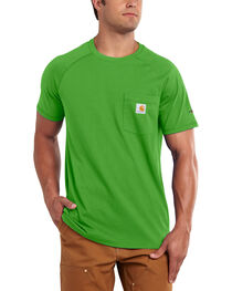 Carhartt Men's Force Cotton Moss Green Short Sleeve Shirt - Big & Tall, , hi-res