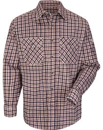Bulwark Men's Burgundy Plaid Flame Resistant Uniform Shirt , , hi-res