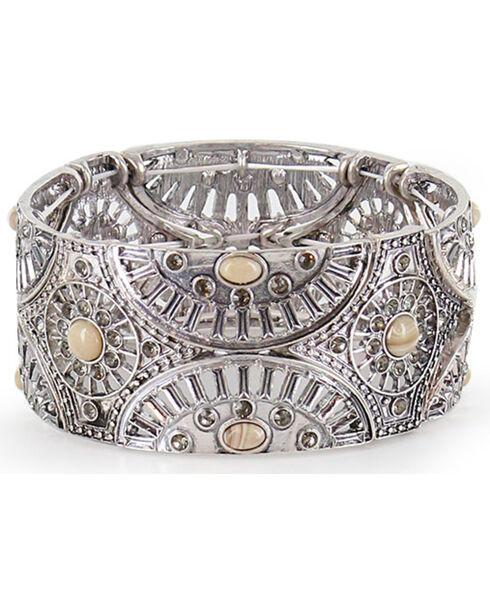 Shyanne® Women's Floral Lasercut Bracelet, Silver, hi-res