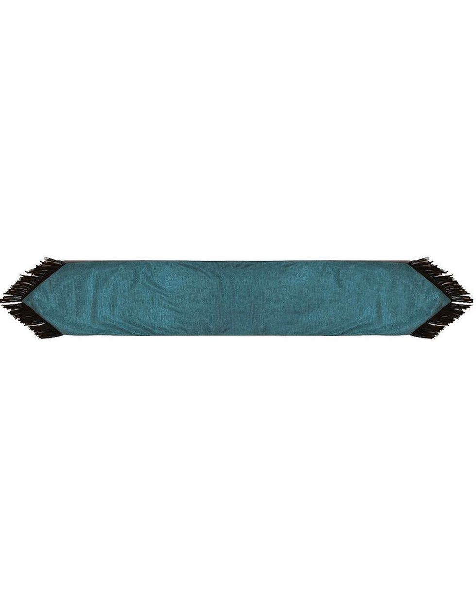 HiEnd Accents Turquoise Tooled Faux Leather Table Runner, Turquoise, hi-res