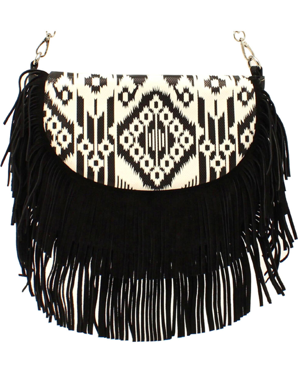 Blazin' Roxx Women's Aztec Fringe Shoulder Bag, Blk/white, hi-res