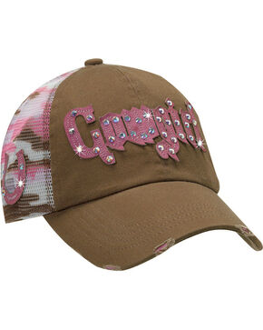 M&F Women's Mesh Camo Cowgirl Ball Cap, Brown, hi-res