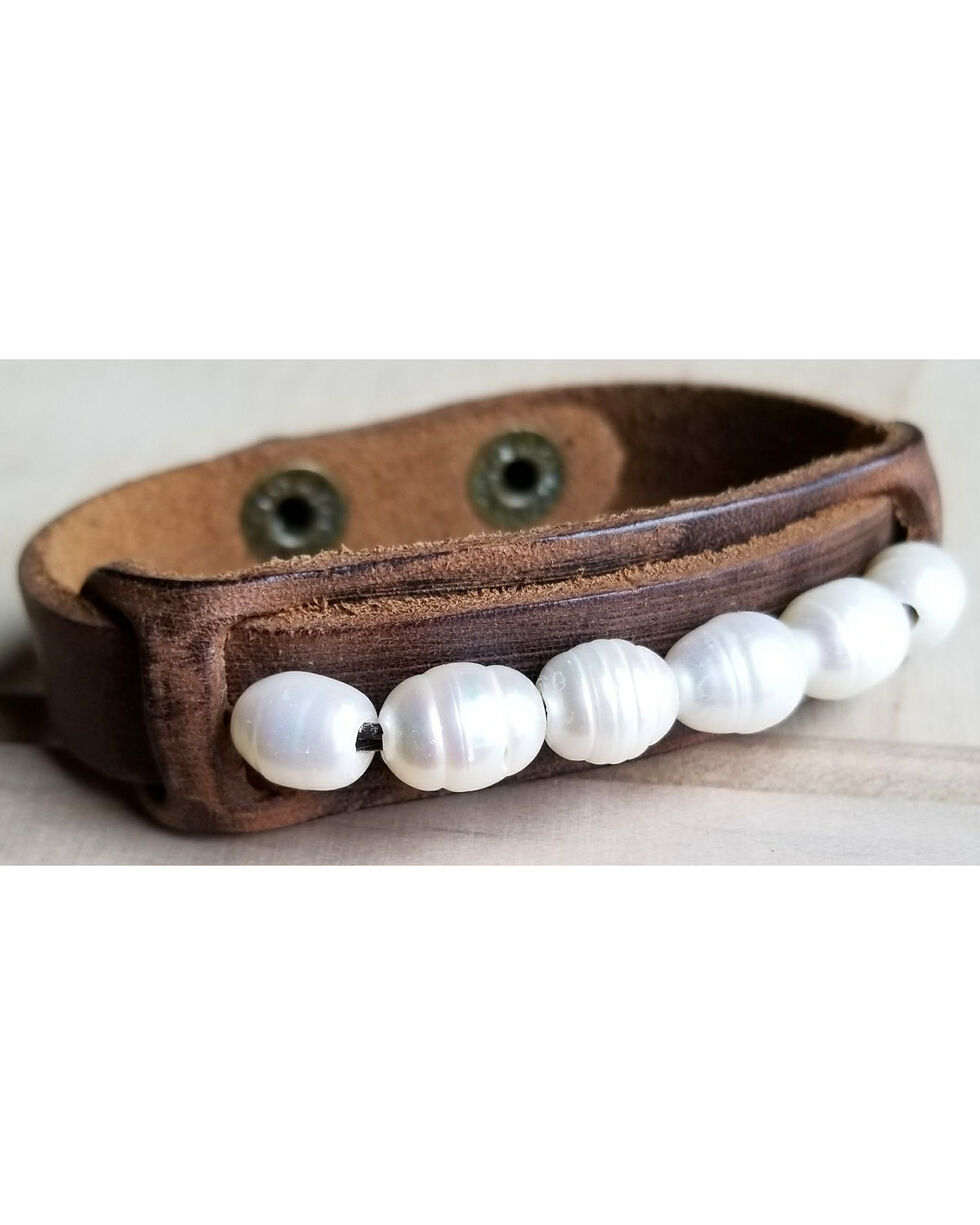 Jewelry Junkie Dusty Leather Narrow Cuff with Genuine Freshwater Pearls, Brown, hi-res