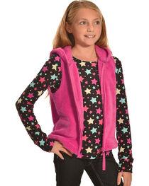 Derek Heart Girls' Pink Hooded Vest and Long Sleeve Star Tee Combo , , hi-res
