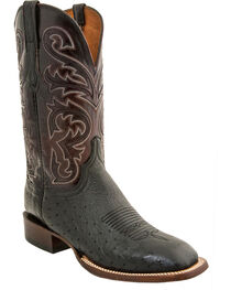 Lucchese Men's Lance Smooth Ostrich Horseman Boots - Square Toe, Black, hi-res