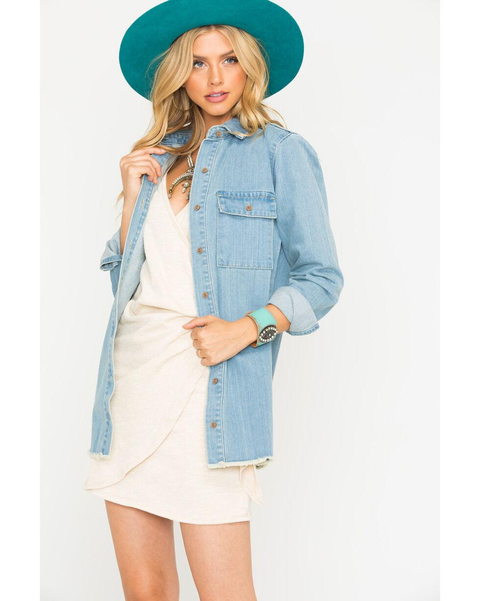 Sage the Label Women's Ellery Trucker Denim Shirt, Blue, hi-res
