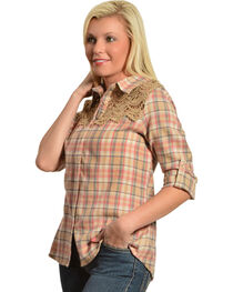 Red Ranch Women's Crochet Tan Plaid Flannel Shirt, , hi-res