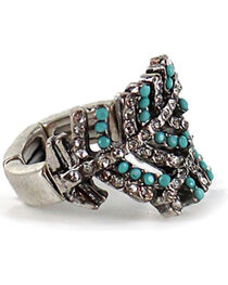 Shyanne® Women's Overlapping Crystal Feather Ring, Silver, hi-res