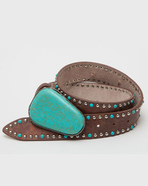 3D Belt Women's Turquoise Stone Studded Belt, Brown, hi-res