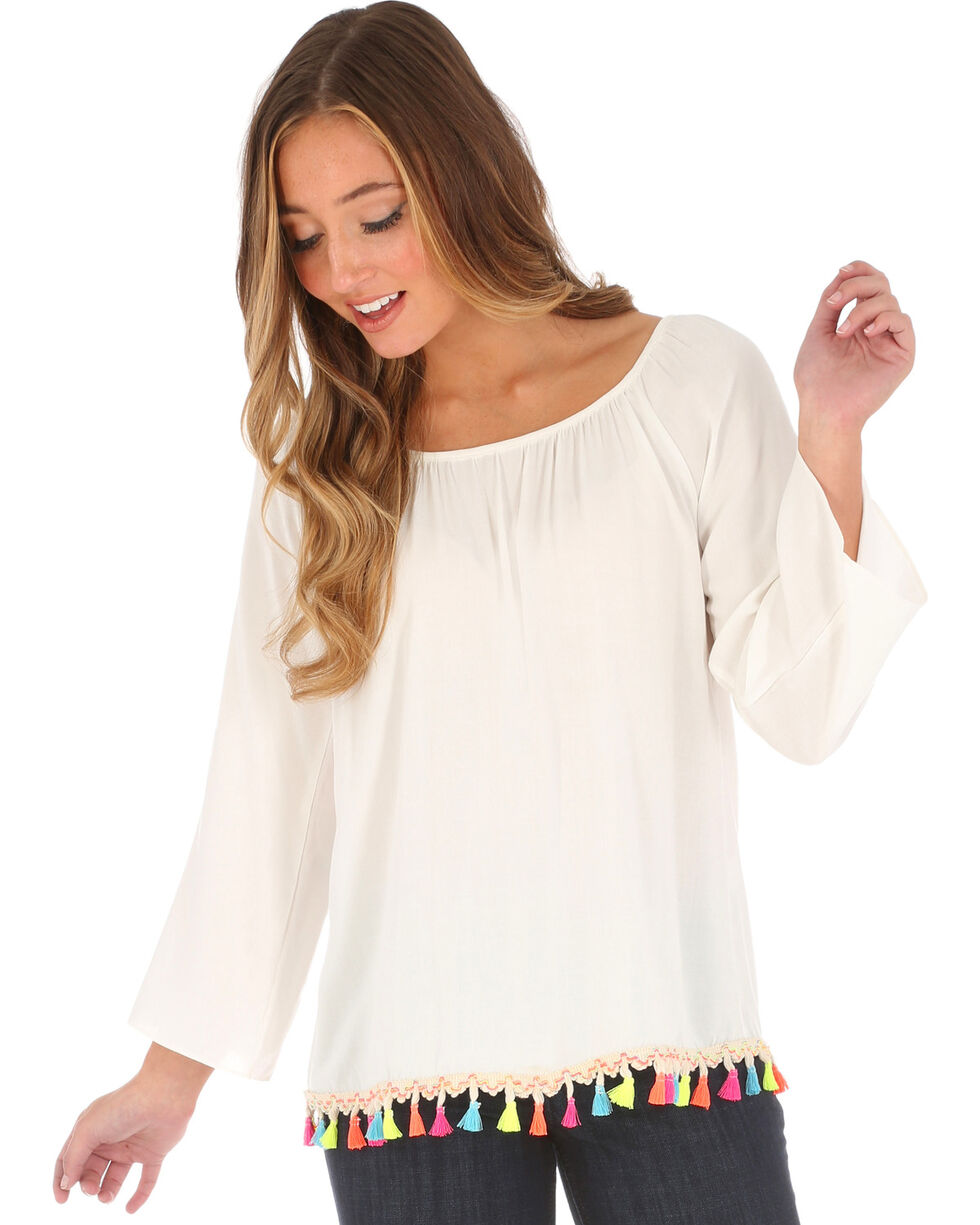 Wrangler Women's Ivory Pom Pom Trim Long Sleeve Top , Ivory, hi-res
