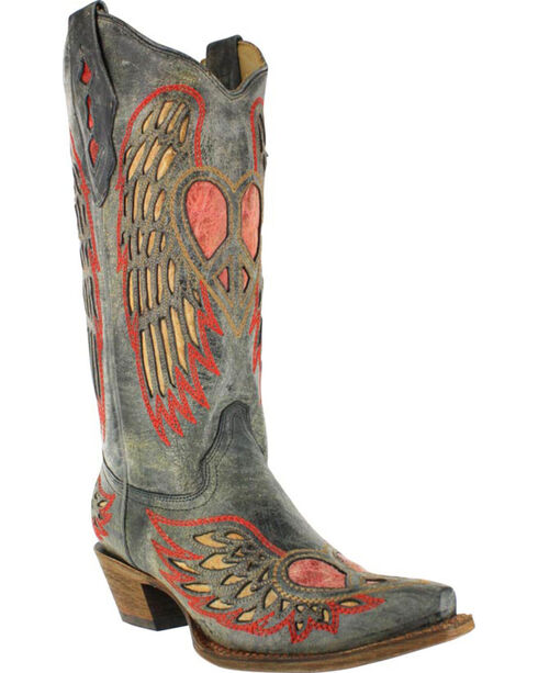 Corral Women's Wing and Heart Snip Toe Western Boots, Black, hi-res