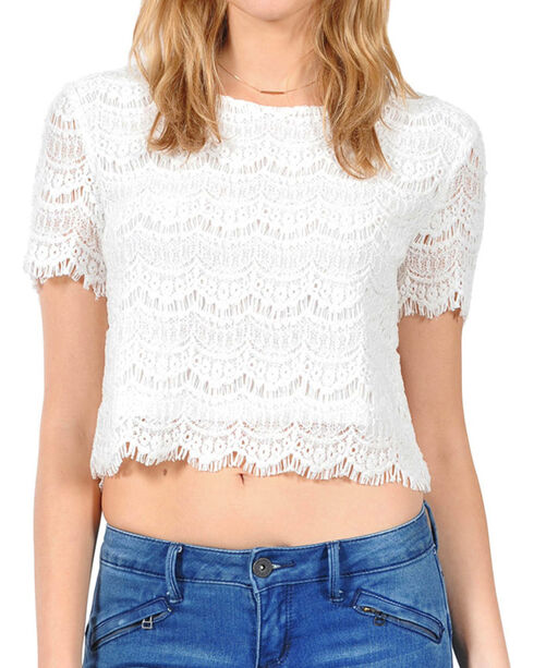 HYFVE Women's Allover Lace Crop Top, White, hi-res