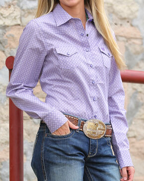 Cinch Women's Diamond Patterned Long Sleeve Shirt, Purple, hi-res
