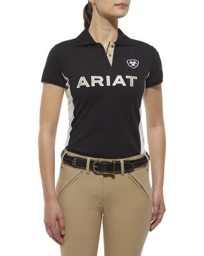 Ariat Women's Team Logo Polo, Black, hi-res