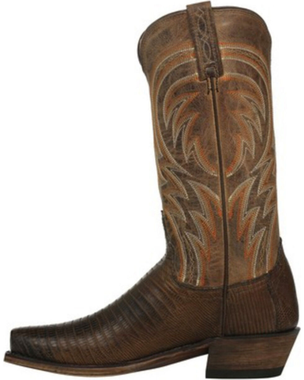Lucchese Men's Handmade Tan Percy Lizard Boots - Square Toe , Tan, hi-res