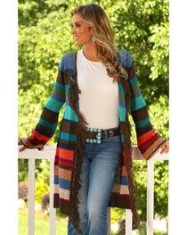 Wrangler Women's Fringe Sweater Cardigan, , hi-res