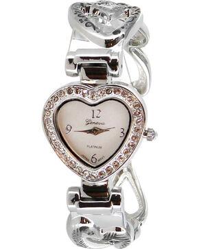 Shyanne® Women's Rhinestone Heart Cuff Watch , Silver, hi-res