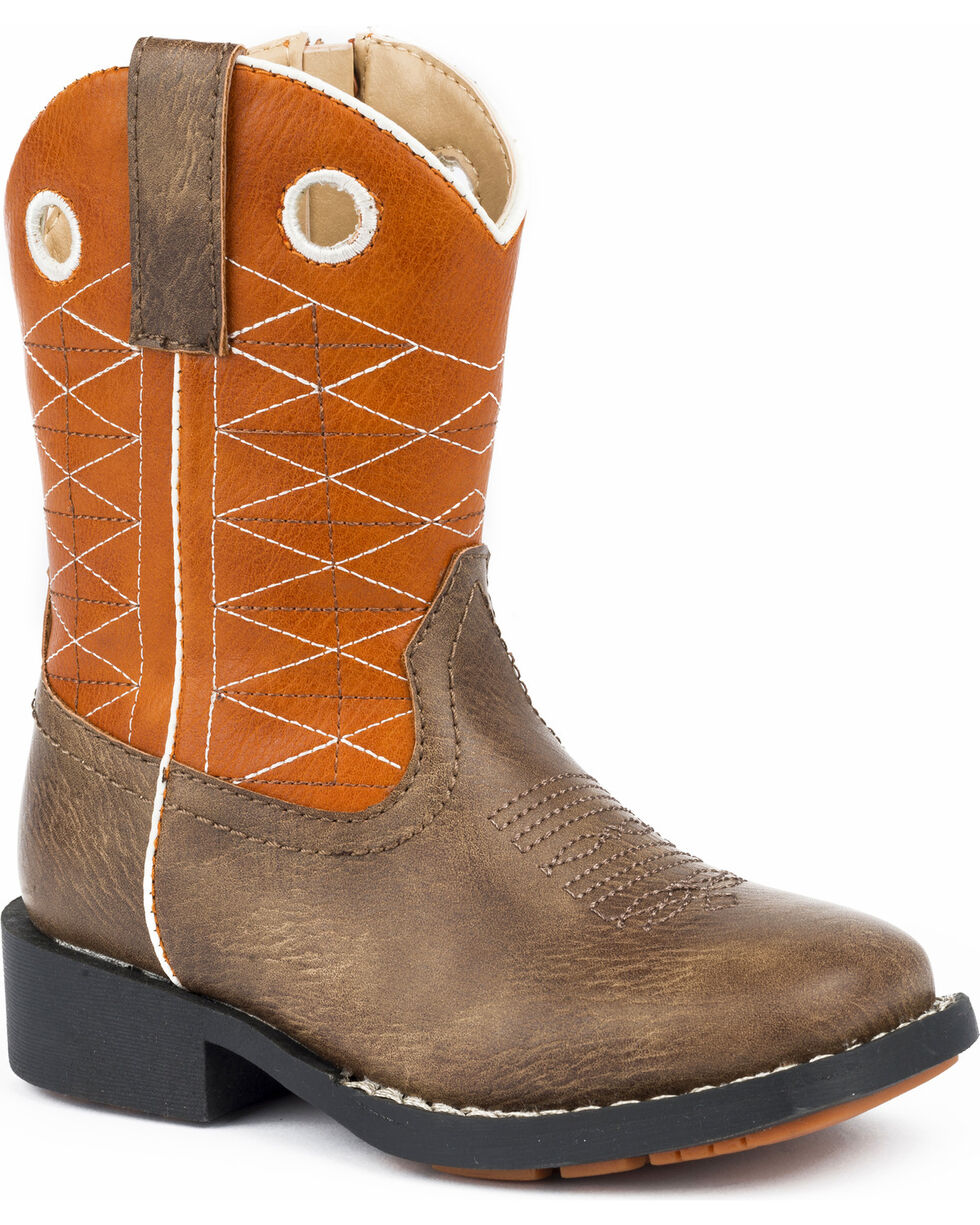 Roper Toddler Boys' Boone Criss Cross Embroidered Cowboy Boots - Square Toe , Brown, hi-res