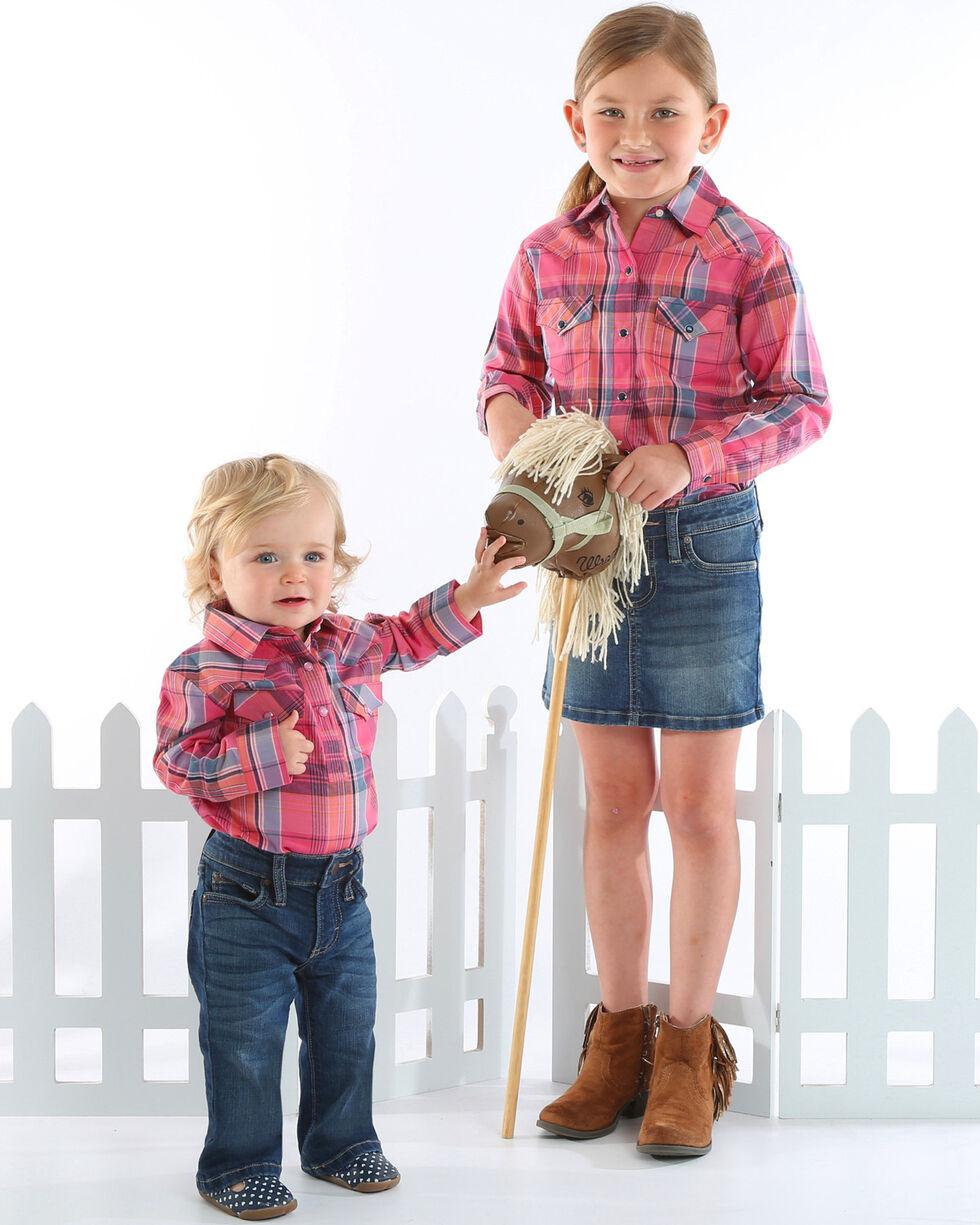 Wranlger Girls' Pink Plaid Long Sleeve Shirt, Pink, hi-res