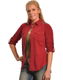Ryan Michael Wine Embroidered Split Back Shirt , , hi-res