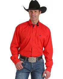 Cinch Men's Red Solid Long Sleeve Shirt, , hi-res
