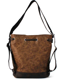 Treska Brown Tooled Drawstring Bucket Bag, , hi-res