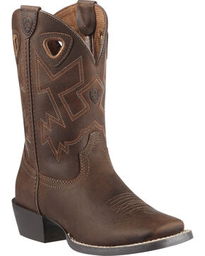 Ariat Boys' Charger Distressed Cowboy Boots - Square Toe, Brown, hi-res