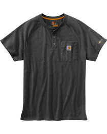 Carhartt Men's Heather Grey Force Cotton Delmont Short Sleeve Henley Shirt - Tall , , hi-res