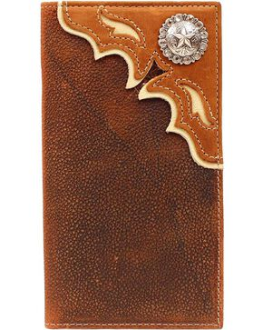 Nocona Concho Leather Overlay Rodeo Wallet, Brown, hi-res