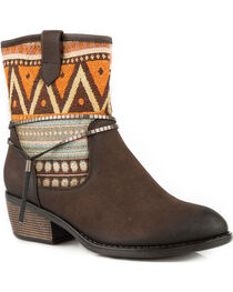 Roper Women's Brown Taos Tribal Pattern Western Boots - Round Toe, , hi-res