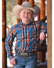 Cinch Boy's Plaid Printed Long Sleeve Shirt, , hi-res