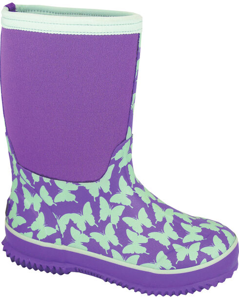 Smoky Mountain Youth Girls' Butterfly Waterproof Boots, Purple, hi-res