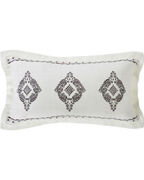 HiEnd Accents Cream Charlotte Oblong Grey Embroidered Lace Design Pillow, , hi-res