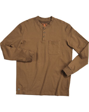 American Worker Men's Brown Mason Pocket Henley Shirt , Brown, hi-res