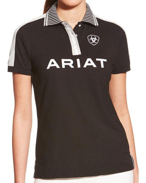 Ariat Women's FEI New Team Short Sleeve Polo, Grey, hi-res