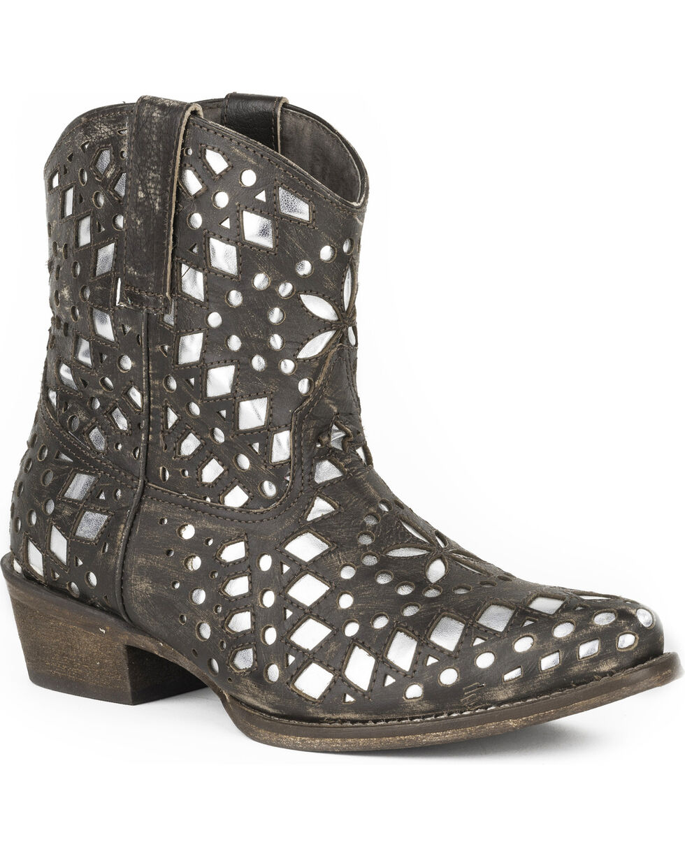 Roper Women's Brighton Metallic Western Boots - Pointed Toe , Brown, hi-res