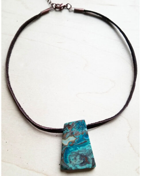 Jewelry Junkie Ocean Agate On Leather Choker Necklace, Blue, hi-res