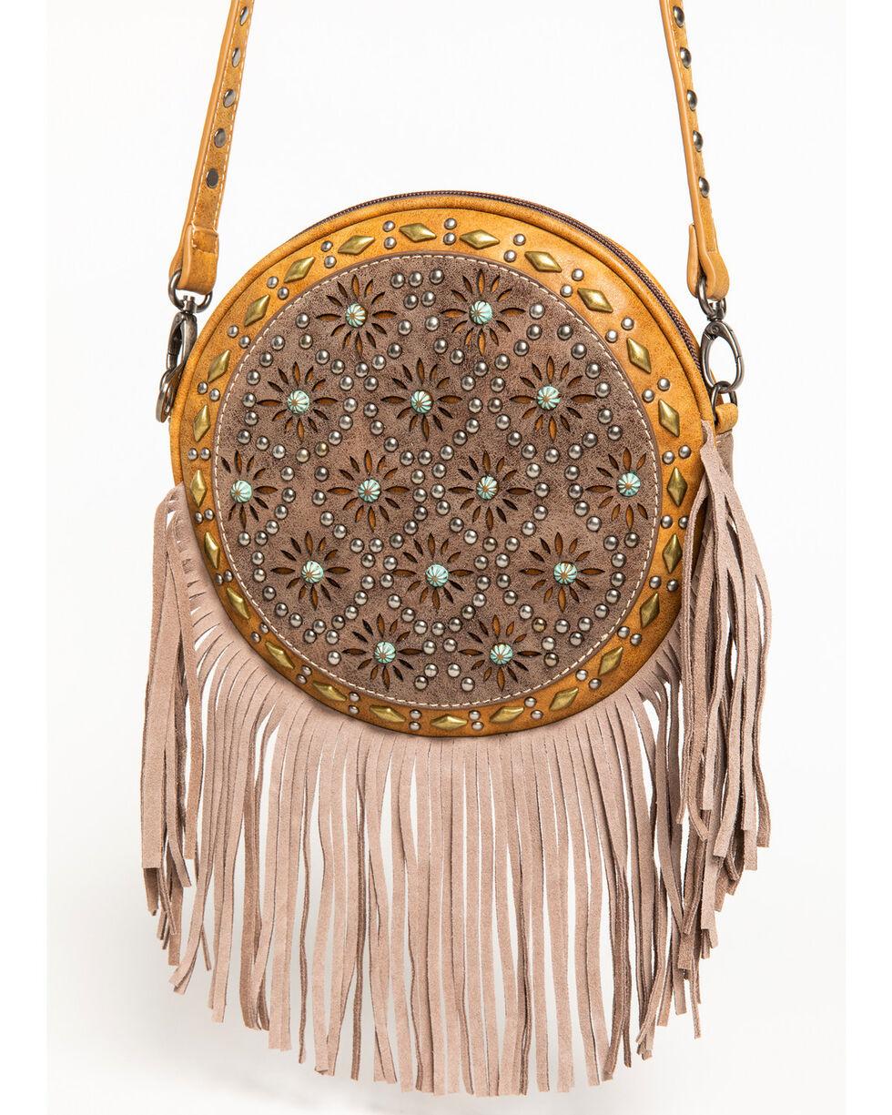Shyanne Women's Patina Studded Fringe Crossbody Bag, Brown, hi-res