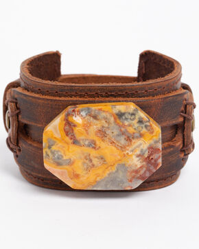 Jewelry Junkie Women's Crazy Agate Slab Cuff Bracelet , Multi, hi-res